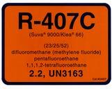 Refrigerant ID Labels R407c - (pk10)