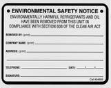 Refrigerant ID Labels (pk 10) Refrigerant Removed Lables