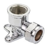 """Chrome Compression 15mmx1/2"""" Wall Plate Elbow"""