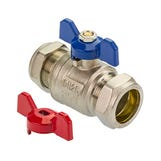 28mm Red & Blue Butterfly Handle Ball Valve