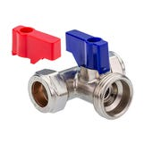 "15mm x 3/4"" Chrome Washing Machine Valve - Tee"