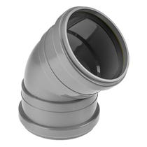 """4""""/110mm x 135° Offset Bend Double Socket Ringseal Grey"""