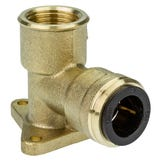 "15mm x 1/2"" Backplate Wall Elb ow Brass Polybutylene Push-Fit"