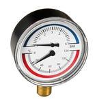 "Temp & Pressure Gauge 80mm - ½"" Bottom x63mm Stem 6bar 120C"