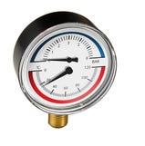80mm Temp & Pressure Gauge 6Bar/120°C bottom connection