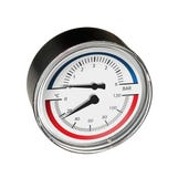 "Temp & Pressure Gauge 80mm - ½"" Back x63mm Stem 6bar, 120C"