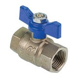 """1"""" FxF Red & Blue Butterfly Handle Full Bore Ball Valve"""