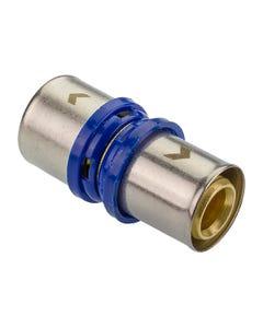16mm WRAS Brass Coupler Multilayer Crimp Fitting