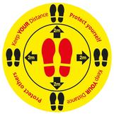 Social Distancing Circular Floor Sticker - Anti Slip Self Adhesive 450mm Dia